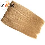 ブラウンカラー自然な引かれたインドの毛の人間の毛髪のWeft Remyの毛