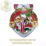 安いカスタム円形浮彫りのリボンが付いている吊り下げ式のフェスタメダル