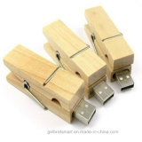 Eco-Friendly Wooden Material Clip USB Flash Drive para presente
