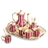 皇帝Fuchsinのが付いているアイボリーの磁器のコーヒー8組のコーヒーセット