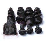 ブラジルの緩い波の毛は自然で黒いバージンの毛を束ねる