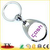 Esmalte feito sob encomenda barato do anel chave com a corrente chave da moeda do logotipo