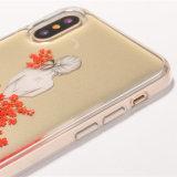 2017 nueva caja antigravedad del teléfono móvil de la hoja de oro del epóxido de la caja del teléfono de la llegada TPU para el iPhone X