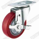 Колеса полиуретана 3 дюймов рицинус красного промышленный с шаровым подшипником G3212 одиночной точности