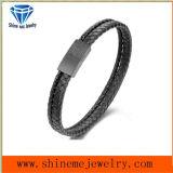 Cuir Bracelet&#160 de noir de bracelet d'acier inoxydable de qualité ; (BL2877)