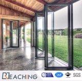 Pavimento di disegno moderno all'alto portello di alluminio del soffitto che piega con l'alto vetro della radura di lucentezza
