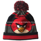 中国の工場農産物は刺繍されたアクリルの冬の赤いニットの帽子をカスタム設計する