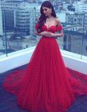 Perles Parti rouge robes de soirée robes de la Prom hors de l'épaule LB1831