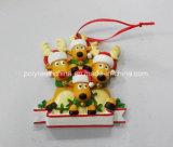 Het Ornament van Kerstmis van de Familie van de Herten van Polyresin