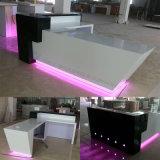 Commerce de gros hôtel LED noir comptoir de réception en acrylique