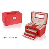 Роскошная Классическая Красная Кожаный Коробка Ювелирных Изделий с Ящиком