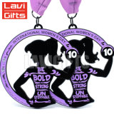 Mujer de metal personalizados Wholesales Dama Soft enamel Medalla Media maratón