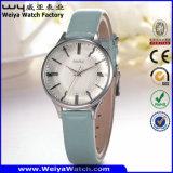 Relógio de pulso ocasional das senhoras de quartzo da cinta de couro de OEM/ODM (Wy-098D)