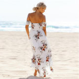 Женщина моды на плечо пляжа Платья для праздника