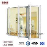 Водоустойчивая дверь алюминиевого сплава дверей Frameless складывая стеклянная