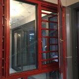 Perfil metálico de aluminio de doble cristal Casement ventana/puerta con pantalla de la Mosca