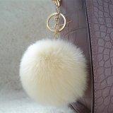 多彩な擬似ウサギの毛皮の球袋および携帯電話の球の吊り下げ式の擬似毛皮POM POMのキーホルダー