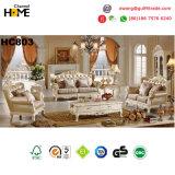 Sofá de madera clásico del cuero genuino de los muebles antiguos fijado (HC813)