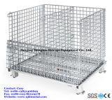 Pliage de grillage en métal galvanisé cage de stockage de palettes en bois