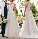 Schutzkappe Sleeves Hochzeits-Kleid-Spitze-Tulle-Korsett-Garten-Brautkleider Lb1828