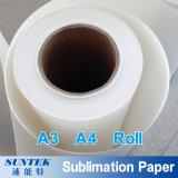 Papel do Sublimation do rolo de A3 A4 para o plástico de vidro cerâmico de matéria têxtil