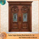 Gravure de la Couronne Desheng Double porte en bois des lames