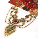 Vintage Королева камня из скрытых полостей Карвинг крыла ожерелья, Necklet цепь