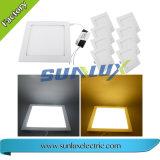 El aluminio de Sunlux ahuecó 9W montado 12W 18W luz redonda y cuadrada de 85V-265V del LED del panel