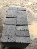 Em basalto cinza/preto escuro com orifícios para pavimentos de ladrilhos, espalhadoras