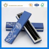 Het lichtblauwe Vakje van de Halsband van het Document van de Voering Buitensporige met de Zilveren Folie van het Embleem (van de de decoratiegift van de Halsband de doos)