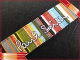 Escritura de la etiqueta principal tejida de alta densidad del cuello de la ropa de la escritura de la etiqueta