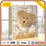 Bolsa de papel cubierta del regalo de las compras del arte de los niños del oso del bebé