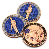 Antique conmemorativa de latón chapado en oro de la moneda del Ejército de metal 3D