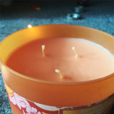Vela de cristal del tarro de la etiqueta engomada grande anaranjada multi de los fieltros para la decoración