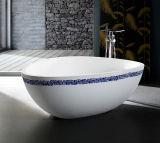 ページの鋳造物の石100%は高級ホテルの浴室のための磨く膚触りがよくスムーズな表面の三角形の浴槽を手作りする