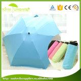 설명서 안전 소형 우산을%s 가진 열려있는 플라스틱 손잡이 3 겹 6 위원회 방풍 프레임
