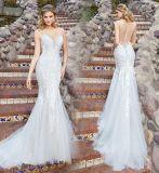 Платье венчания Lb1865 Tulle шнурка Mermaid платья планок спагеттиа Bridal