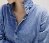 Юбка джинсовой ткани Falbala ворота пола женщин вскользь