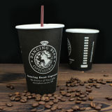 Cuvettes de café chaudes personnalisées de papier de modèle avec le couvercle en plastique