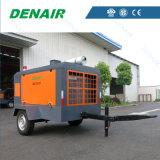 2/4 del modelo de ruedas accionadas por motor Diesel compresor de aire de tornillo móvil