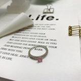Rosafarbener Diamant-Rosazircon-Stein-klassischer Finger-Ring für Frauen