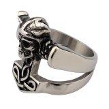 Ring van de Helm van de Schedel van het Roestvrij staal van de Juwelen van de Groothandelsprijs de Zwarte 316L