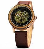 Het Chinese Horloge van de Riem van het Leer van het Horloge van het Embleem van de Douane van de Leverancier Mechanische Houten Automatische