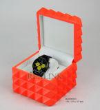 De diamantvormige Sinaasappel lakte de Houten Doos van het Horloge van de Gift van Juwelen Verpakkende