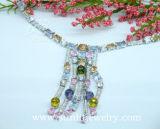 Серебристый ожерелье с красочными Cz (SB720002R)