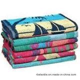 100%年の綿のベロアの印刷の浴室タオルのビーチタオル