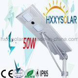 50W integrou tudo em uma luz de rua solar do diodo emissor de luz