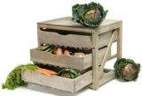 スーパーマーケットの木の野菜およびフルーツ立場の棚付け