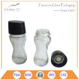 Vaso di vetro libero con la smerigliatrice, laminatoio per la spezia, sale, pepe