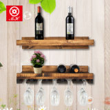 Estante colgante montado en la pared de madera del vino con el estante de cristal Anique del sostenedor